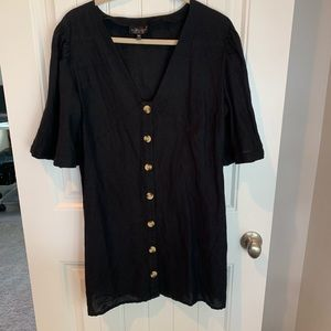 Topshop Angel sleeve shift dress black v-neck 10